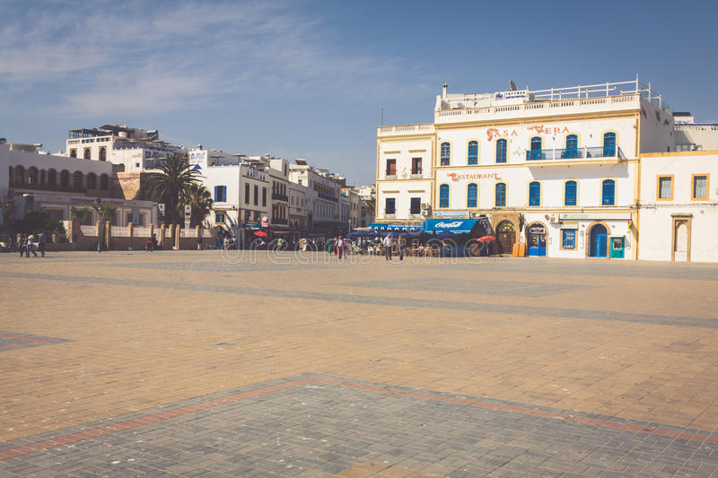 ESSAOUIRA, MOROCCO - MAY 4, 2013: Restaurant in Essaouira, Morocco. The city was called Sidi Megdoulin in 11th-century royalty free stock images