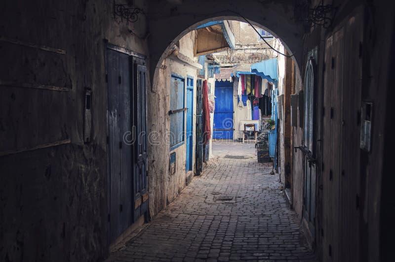 Essaouira, Morocco. Narrow streets and pathways of Essaouira, Morocco stock photo