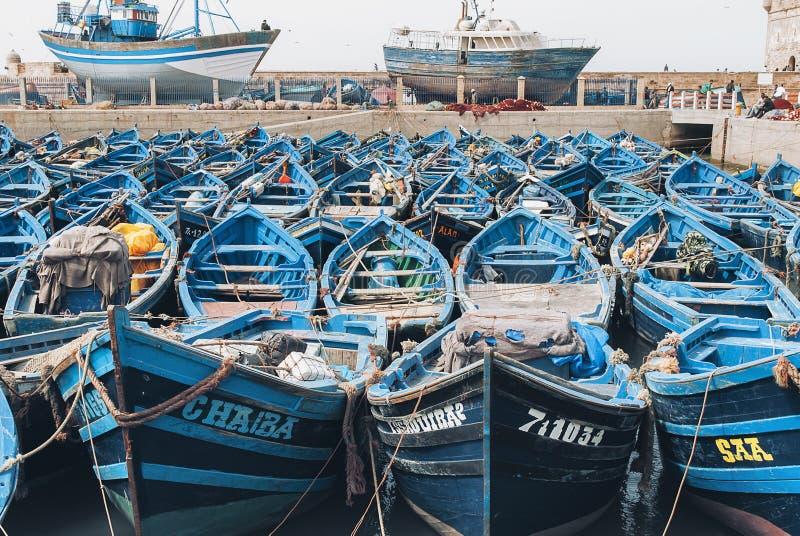 Essaouira, Morocco - 20 September 2019:Moroccan blue fishing boats in Essaouira harbour, near Marrakesh, Morocco royalty free stock image