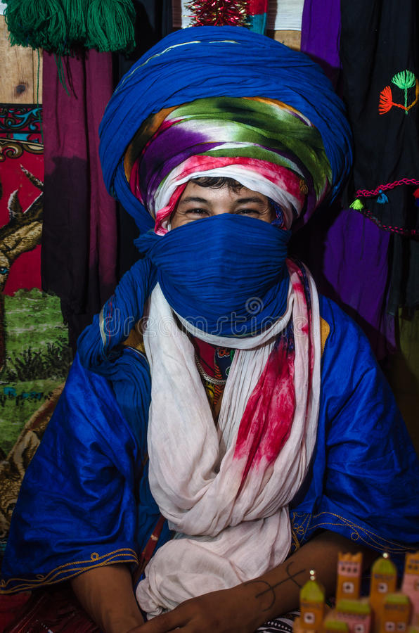 ESSAOUIRA, MOROCCO - September 18, 2015: Young unknown bedouin stock photography