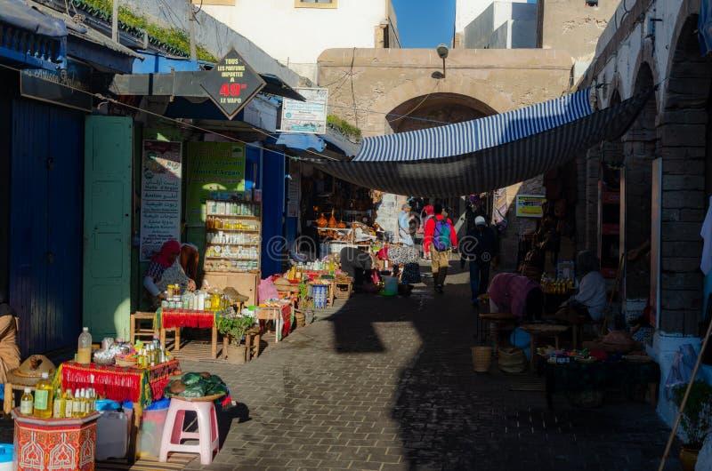 Essaouira - stånd i Medina den gamla staden meat Marocco December 2018 royaltyfri foto