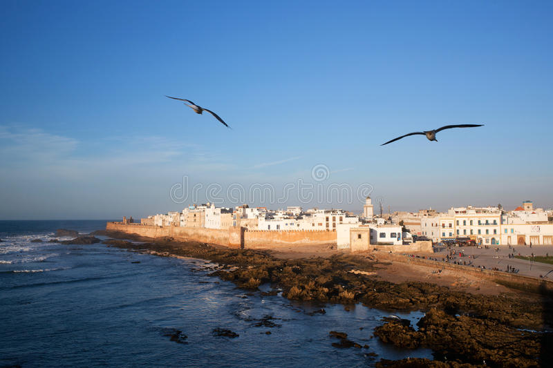 Essaouira view, Morocco. Essaouira is a city in the western Moroccan economic region of Marrakech Tensift Al Haouz, on the Atlantic coast. It has also been known royalty free stock photos