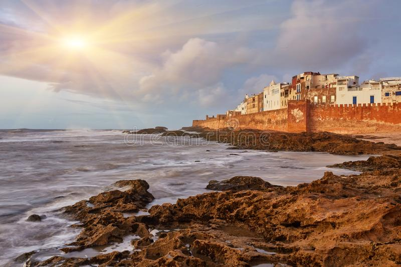 Essaouira walled city in Morocco on Atlantic ocean coast with waves on the rocks royalty free stock photos