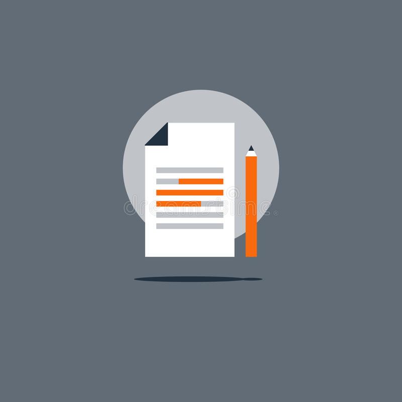 Essay writing icon, education concept, creative storytelling, summary text. Summary concept icon, creative writing, short story telling, highlight information royalty free illustration