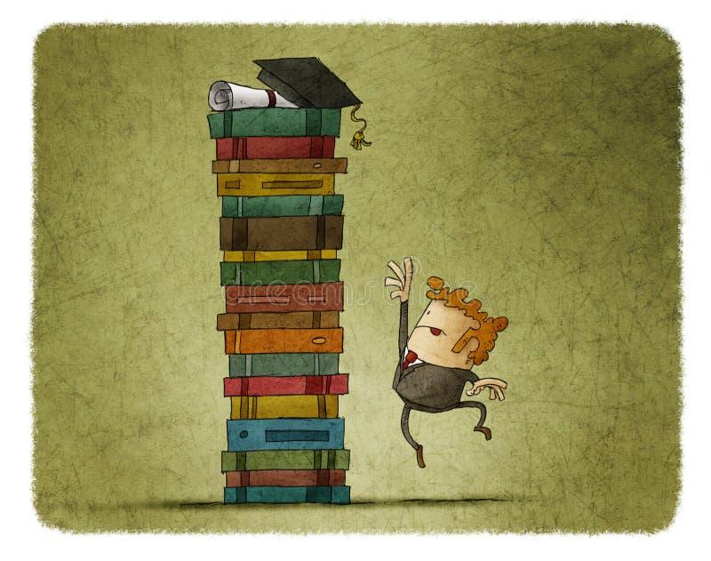 Essayez de recevoir un diplôme illustration de vecteur