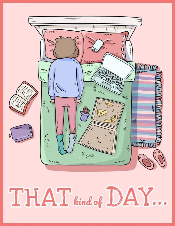 Esse tipo do dia PMS Menina Tired Suje em casa Imagem cômica do estilo ilustração royalty free
