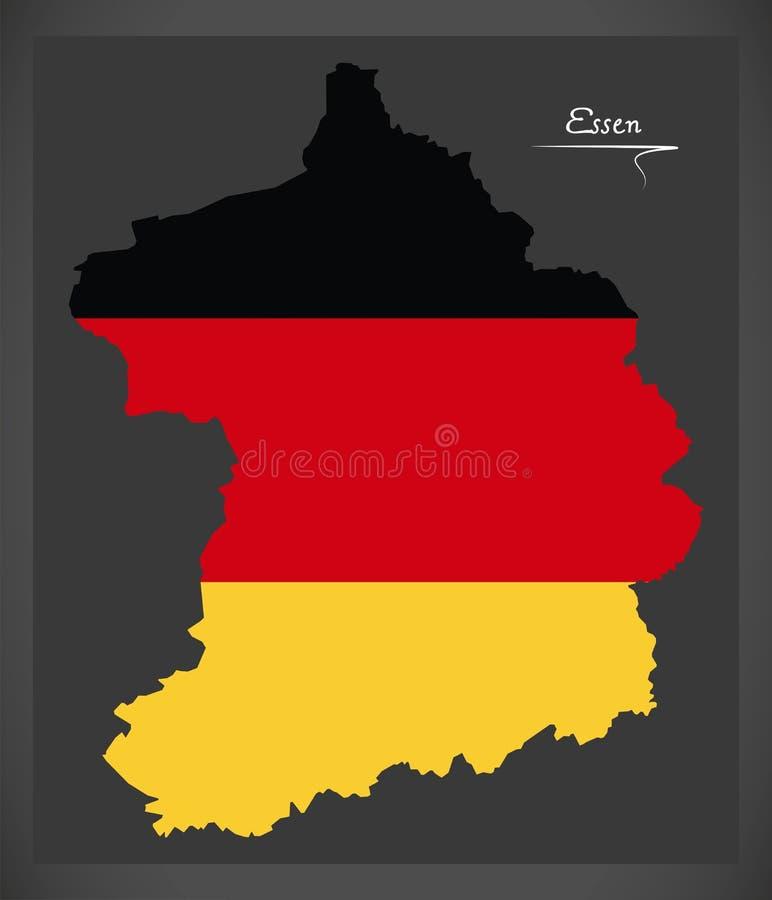 Essen översikt med den tyska nationsflaggaillustrationen stock illustrationer