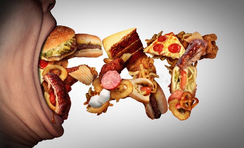Essen des fetten Lebensmittels stock abbildung