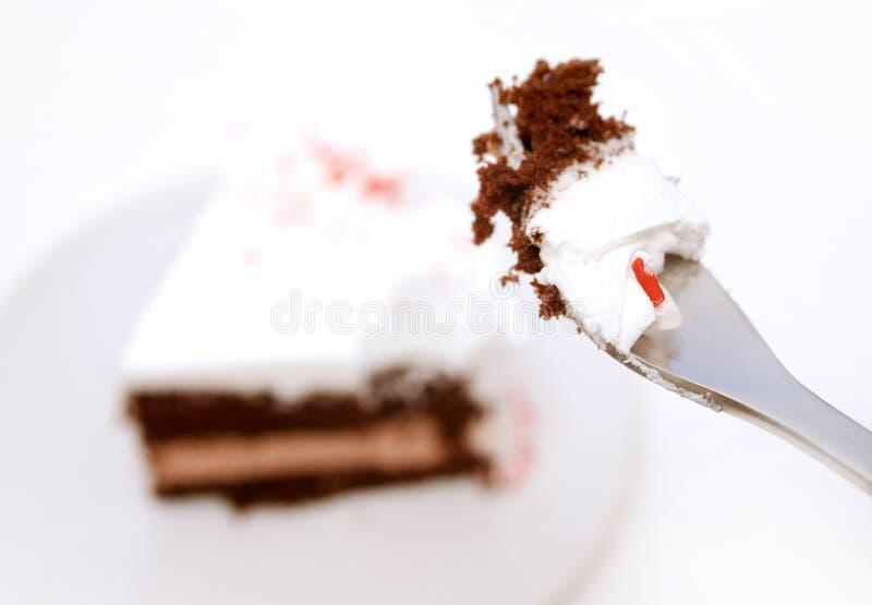 Essen des Kuchens lizenzfreie stockbilder