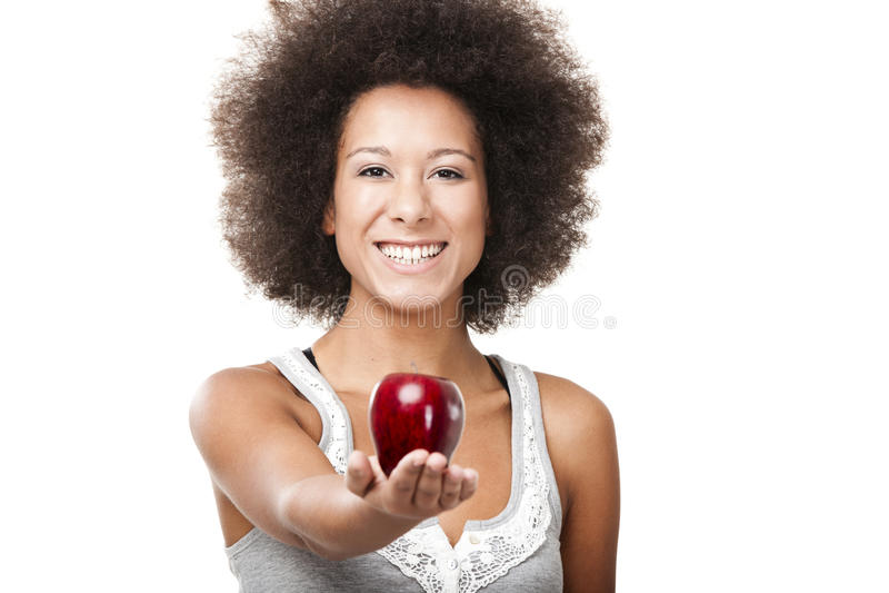 Essen eines Apfels lizenzfreie stockbilder