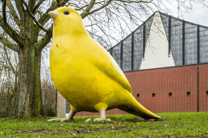 Essen , Germany - January 24 2018 : The canary bird by Ulrich Wiedermann and Hummert architects is pointing the way to. ESSEN , GERMANY - JANUARY 24 2018 :The royalty free stock photography