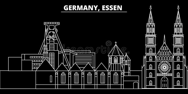 Essen konturhorisont Tyskland - Essen vektorstad, tysk linjär arkitektur, byggnader Essen loppillustration stock illustrationer