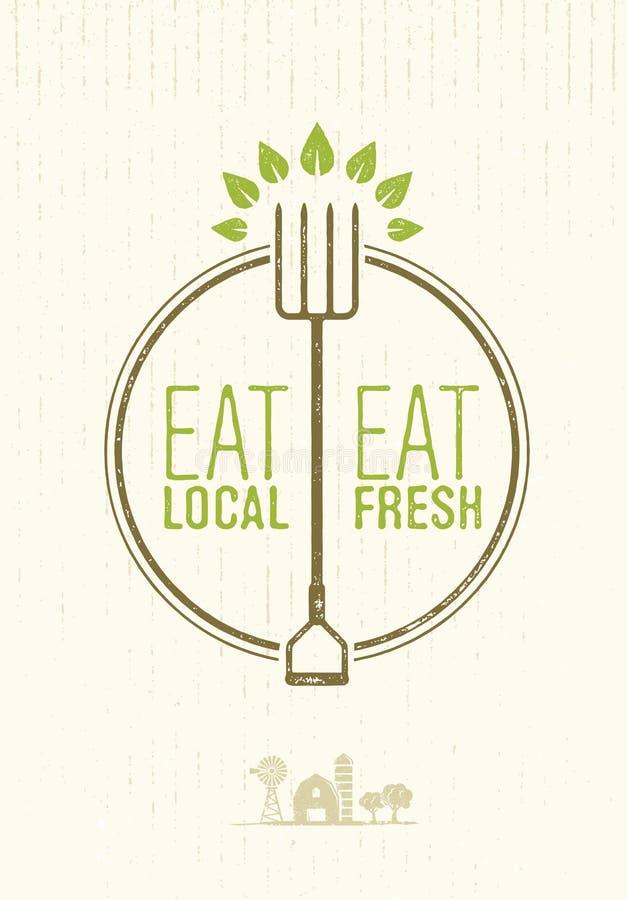 Essen Sie Einheimisches, essen Sie neues gesundes Lebensmittel Eco-Bauernhof-Vektor-Konzept auf Rusty Background lizenzfreie abbildung