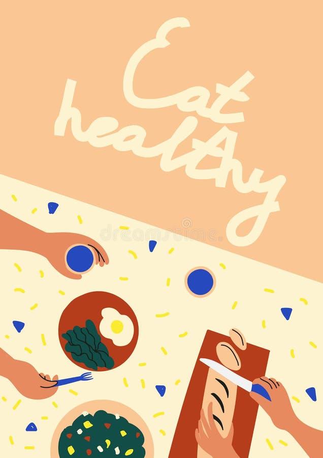 Essen Sie gesundes Abendtisch mit Draufsicht des Gemüses Gesundes Essenkonzept Flache Illustration des Vektors für Fahne, Postkar stock abbildung