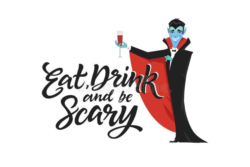 Essen Sie, Getränk und seien Sie - modernes Vektorplakat furchtsam lizenzfreie abbildung