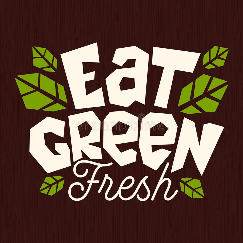 Essen Sie grünes Logo des biologischen Lebensmittels, das gesundes Emblem grüne natürliche frische Bestandteile stempeln die loka vektor abbildung