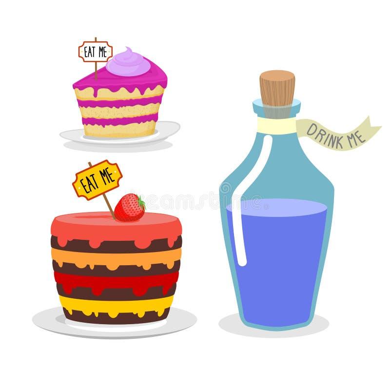 Essen Sie mich Kuchen Trinken Sie mich Trank Stellen Sie Mahlzeit für Alice im Märchenland ein vektor abbildung