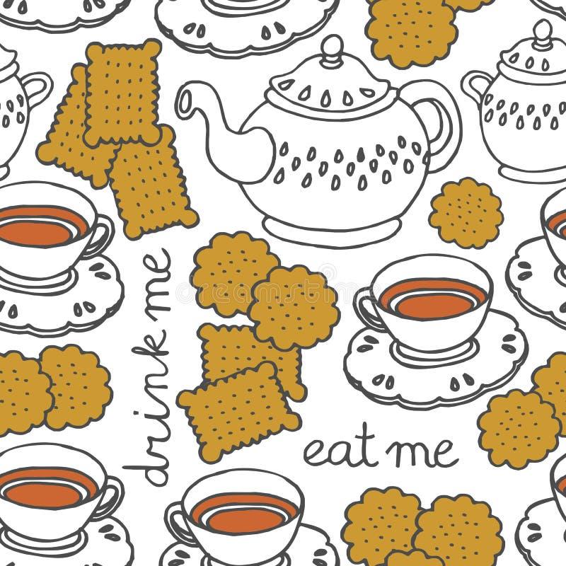 essen Sie mich trinken mich Tee und Plätzchen vektor abbildung