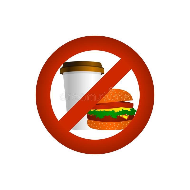 Essen Sie und trinken Sie Verbot, Vektorzeichen stock abbildung