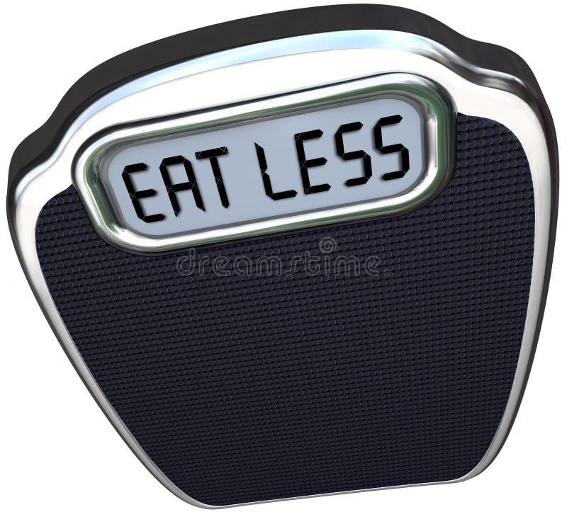 Essen Sie weniger Wörter, die Skala Gewichts-Diät verlieren stock abbildung