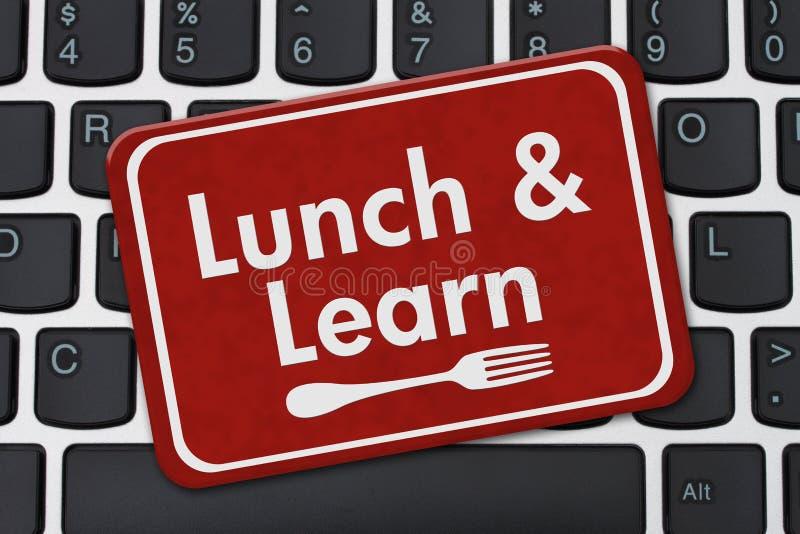 Essen Sie zu Mittag und lernen Sie Zeichen stock abbildung