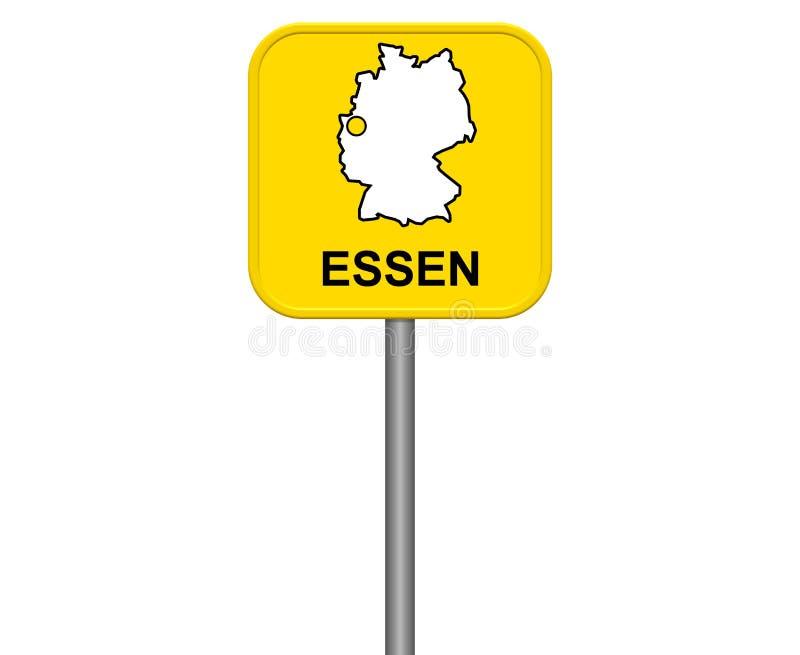 Essen - signe jaune de ville avec la carte allemande illustration de vecteur