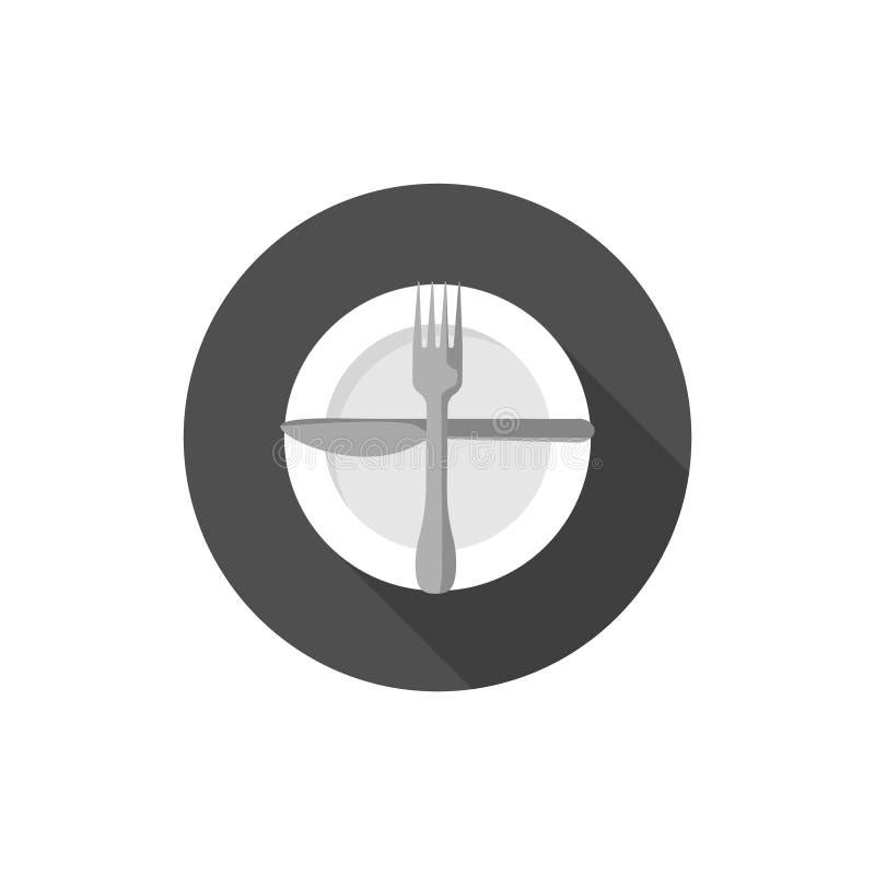 Essen von Etikette, von Gabeln und von Messersignalen Bereiten Sie für eine zweite Platte vor lizenzfreie abbildung