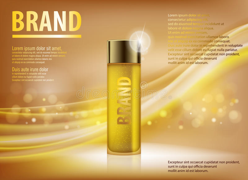 Essence contained, ads, gold translucent glass bottle template. Design makeup cosmetics product for advertising with vector illustration