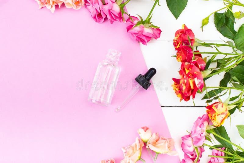 Essence de cosmétiques de soins de la peau de Crema, huile sur un bureau de rose et blanc Fond de beauté faux  images libres de droits