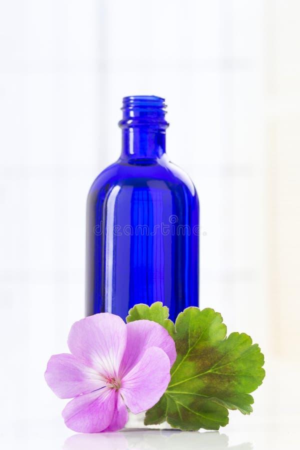 Essence de géranium essentielle en bouteille et fleurs images libres de droits