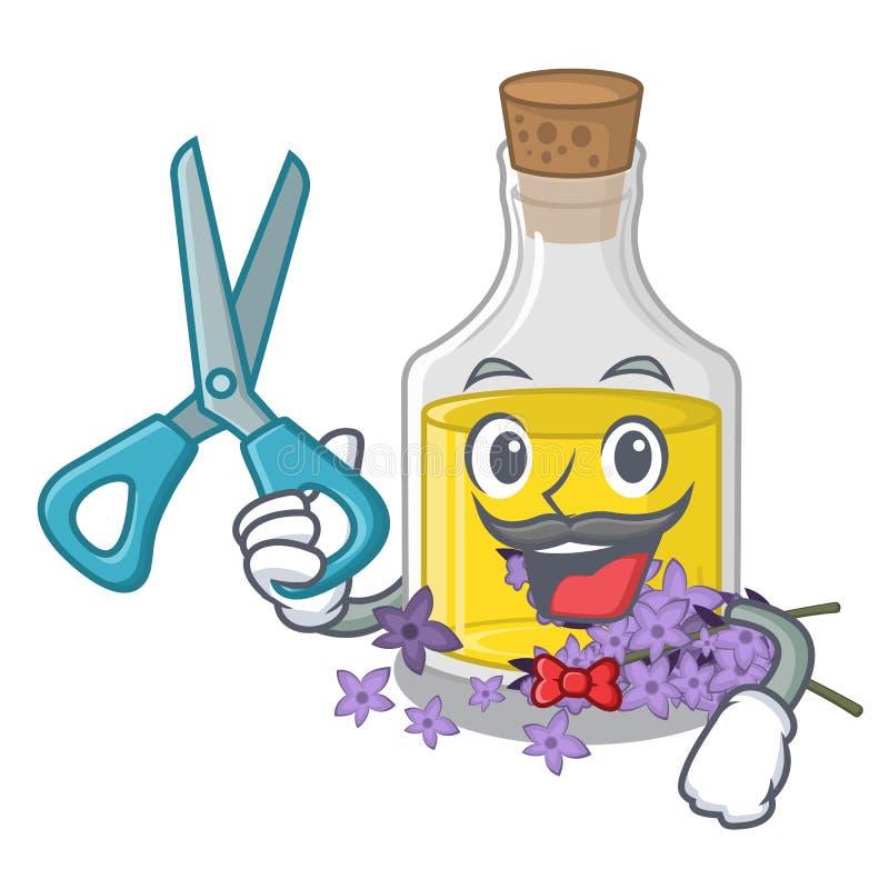 Essence de lavande de coiffeur dans une bouteille de bande dessinée illustration de vecteur