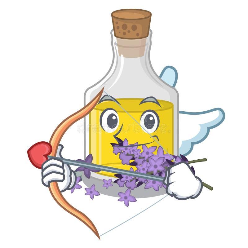 Essence de lavande de cupidon dans une bouteille de bande dessinée illustration libre de droits