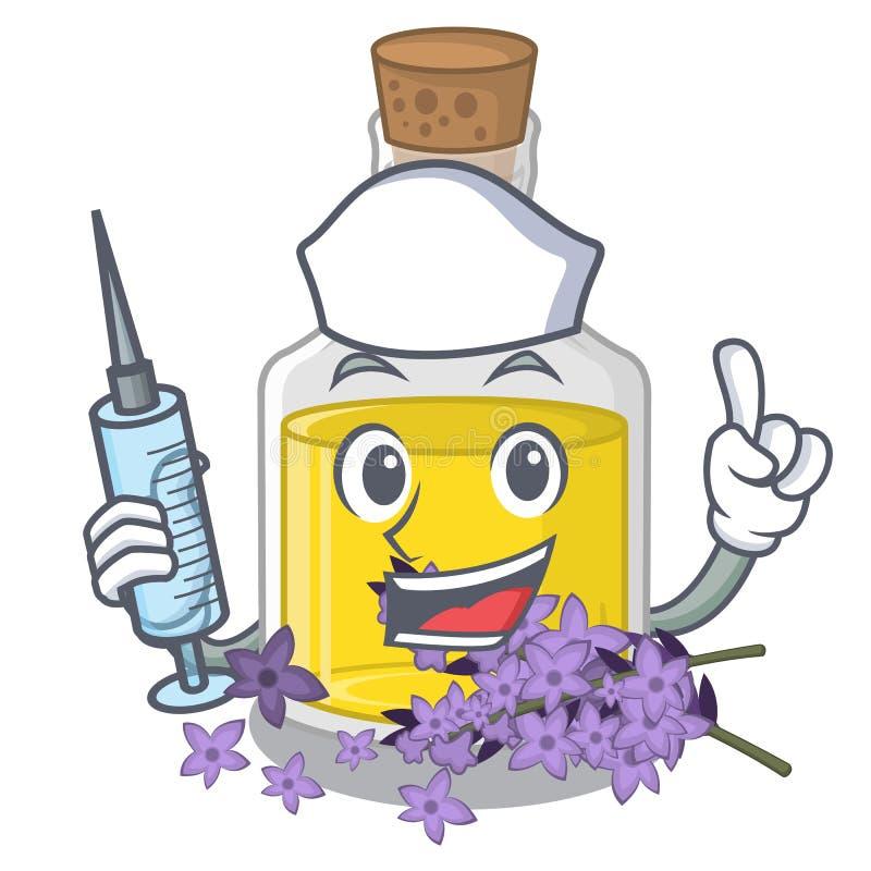 Essence de lavande d'infirmière d'isolement avec la mascotte illustration de vecteur