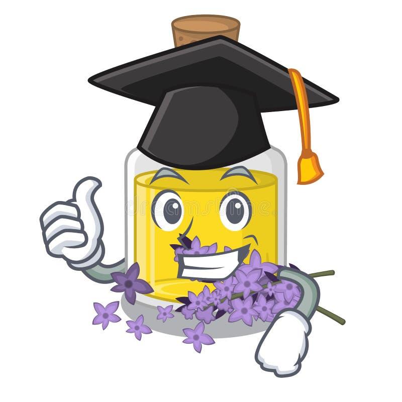 Essence de lavande d'obtention du diplôme d'isolement avec la mascotte illustration de vecteur