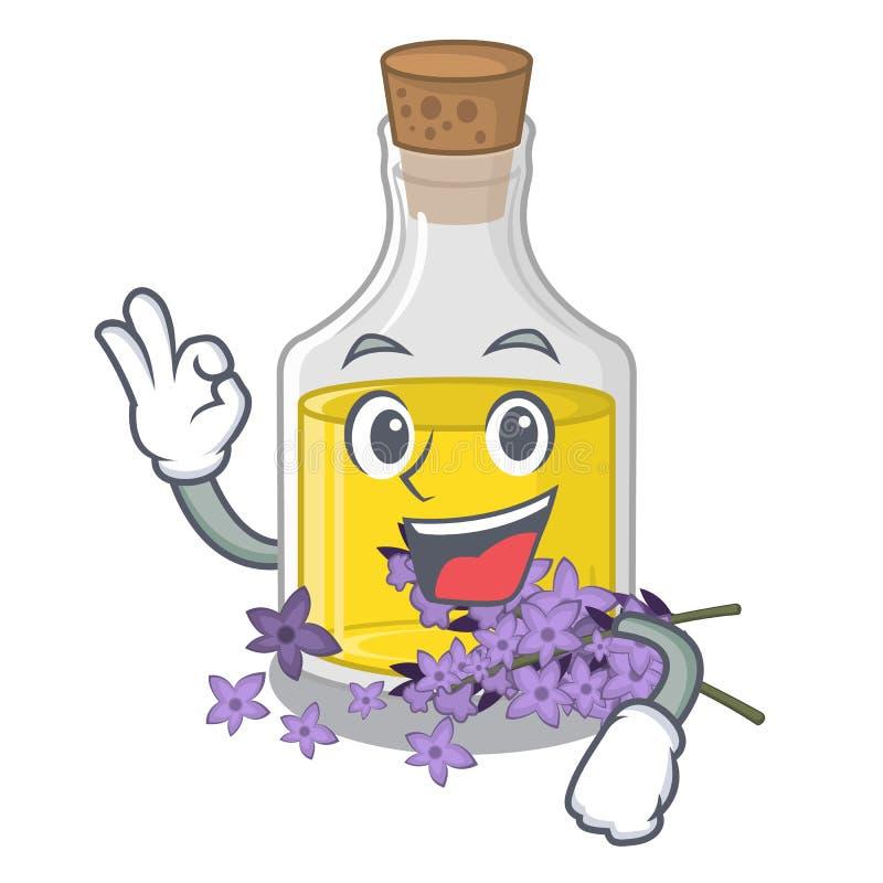 Essence de lavande d'ok d'isolement avec la mascotte illustration stock
