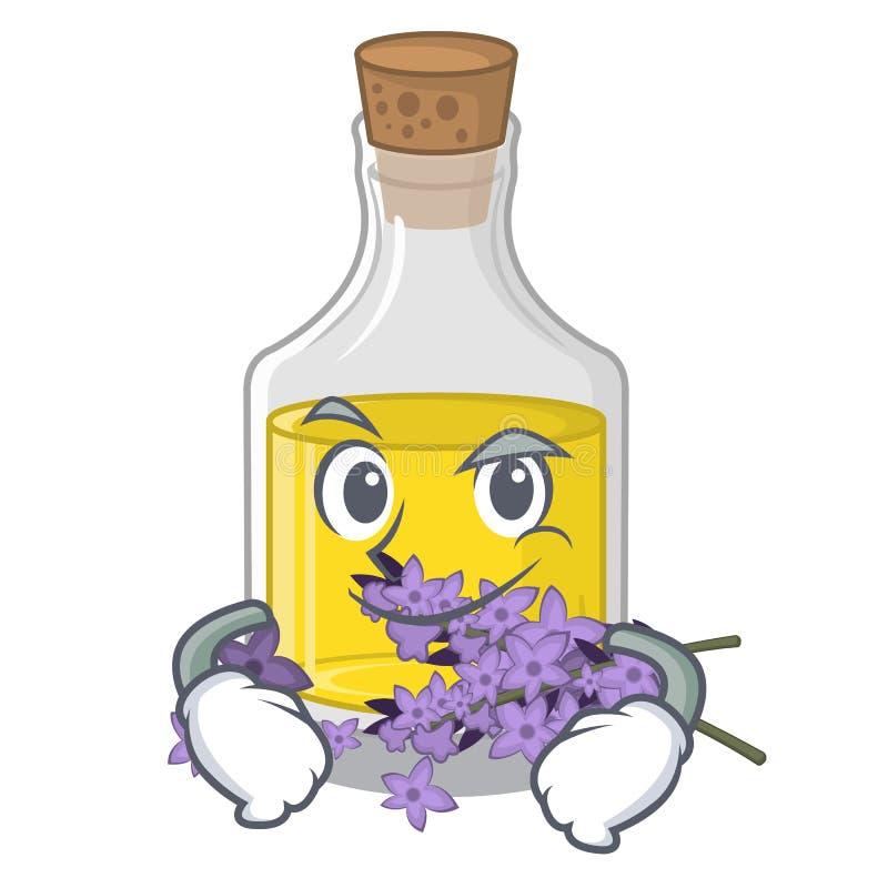 Essence de lavande souriante d'un air affecté d'isolement avec la mascotte illustration stock