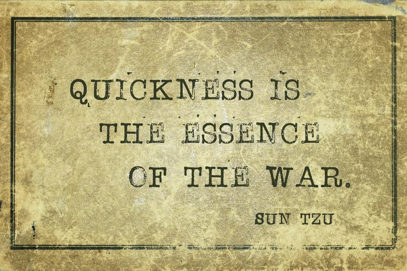 Essence of war Sun Tzu. Quickness is the essence of the war - ancient Chinese strategist ond writer Sun Tzu quote printed on grunge vintage cardboard vector illustration