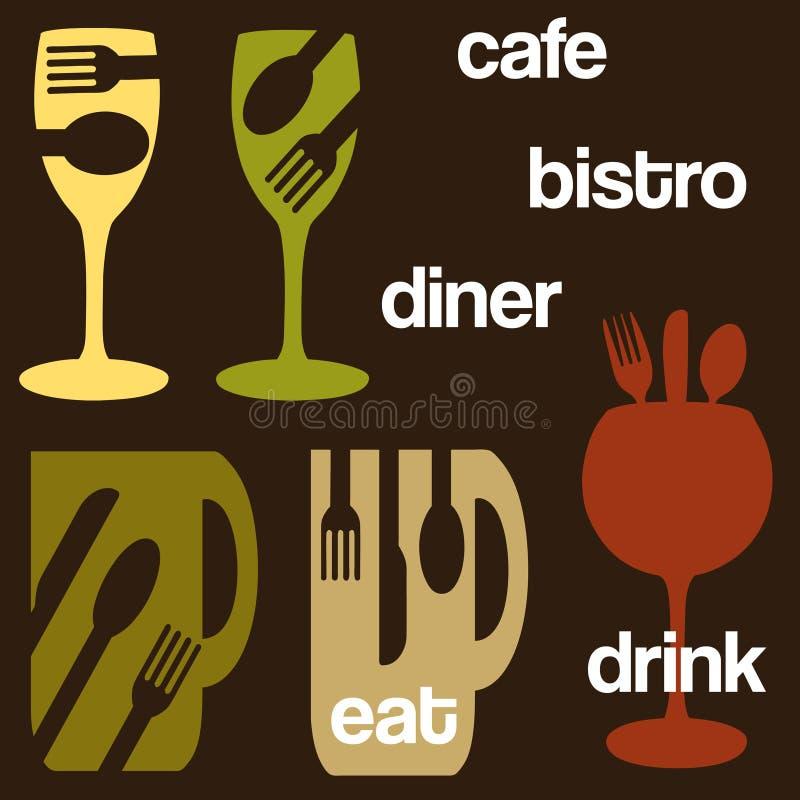 Essende und trinkende Grafiken lizenzfreie abbildung