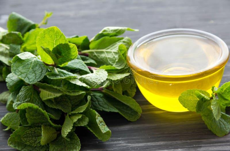 Essentiële aromaolie met pepermunt op hout royalty-vrije stock foto's