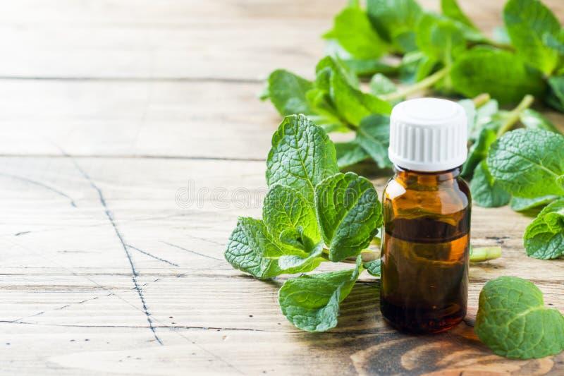 Essentiële aromaolie met pepermunt op houten achtergrond Selectieve nadruk, exemplaarruimte stock fotografie