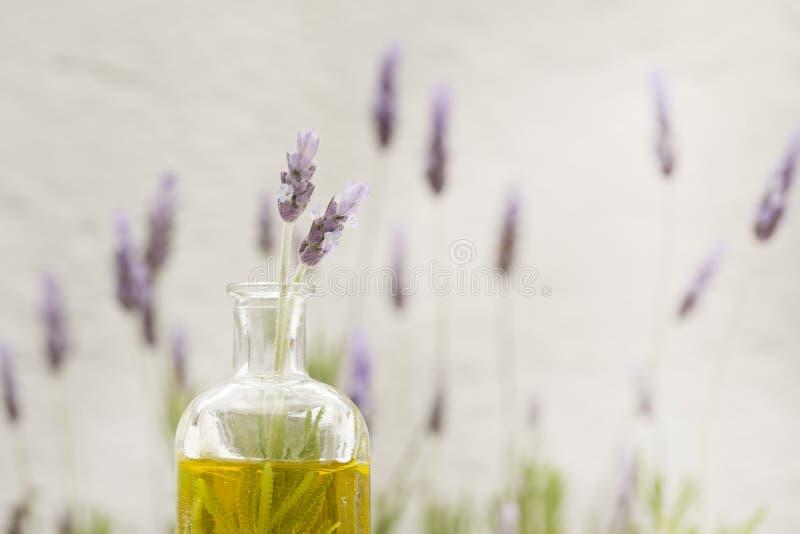 Essentiële olie en lavendelbloemen royalty-vrije stock fotografie