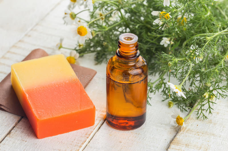 Essential aroma oil and soap royalty free stock photo