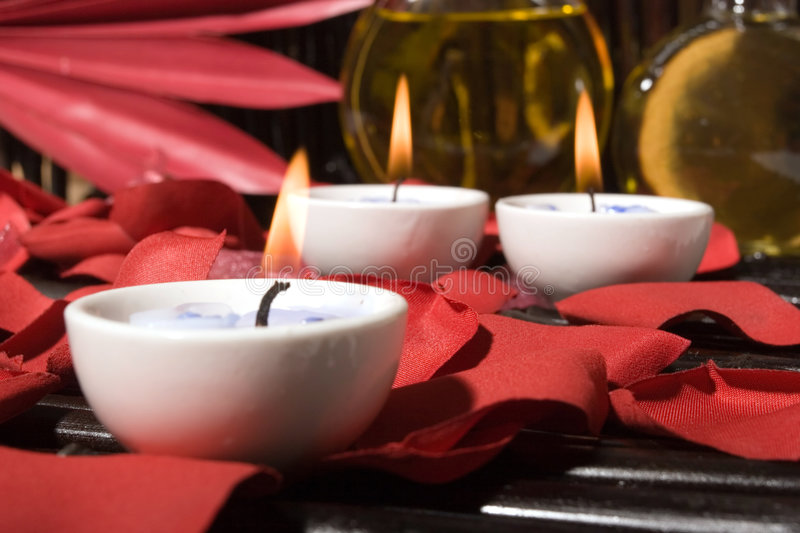 Download Essential Body Massage Oils With Candles Stock Image - Image of care, bottle: 4407483