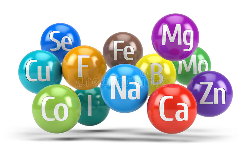Essential chemical minerals and microelements - healthy diet concept. 3d render stock illustration