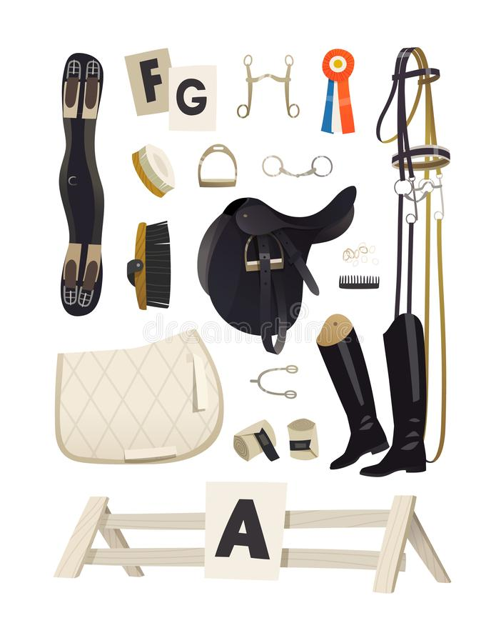 Essential dressage riding equipment, common horse grooming tools stock illustration