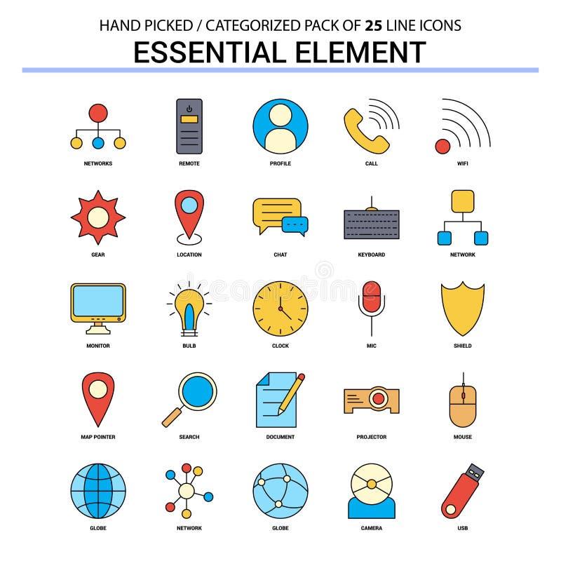Essential Element Flat Line Icon Set - Business Concept Icons De stock illustration