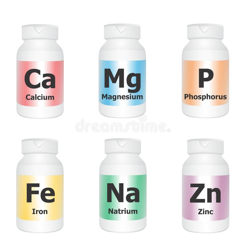 Essential minerals. Vector illustration of medical bottles with essential minerals symbols on white background stock illustration