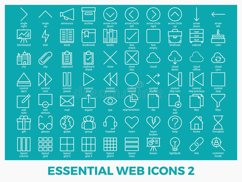 Essential mixed web icons. Set in modern line icon style for ui, ux, website, web, app graphic design stock illustration