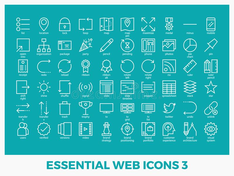 Essential mixed web icons. Set in modern line icon style for ui, ux, website, web, app graphic design vector illustration