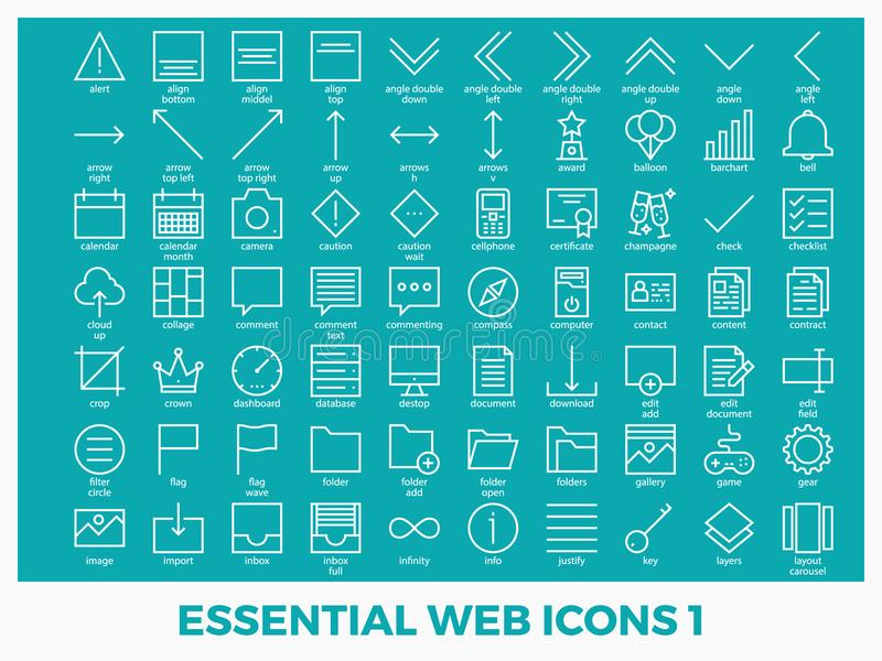 Essential mixed web icons. Set in modern line icon style for ui, ux, website, web, app graphic design royalty free illustration